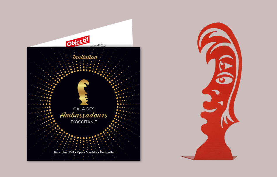 Logo et invitation Gala des Ambassadeurs d'Occitanie