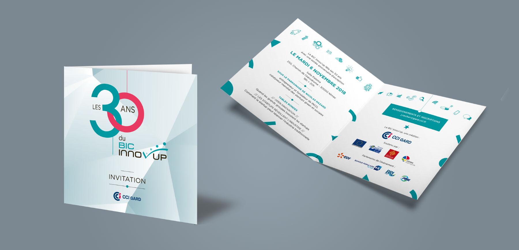Carton d'invitation des 30 ans du Bic Innov'up